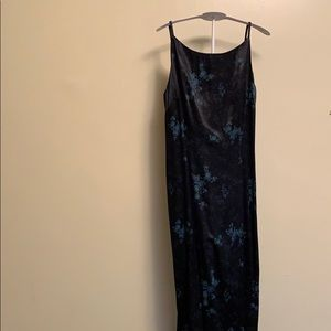 Vintage black satin floral dress